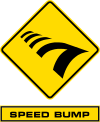 The Speed Bump sign appears above the clue box where the player who checked in last in the previous Pit Stop during a non-elimination leg must do the Speed Bump task on the leg after the non-elimination Leg before continuing.