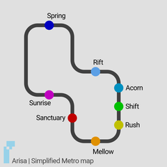Simplified Metro map. Click to enlarge.