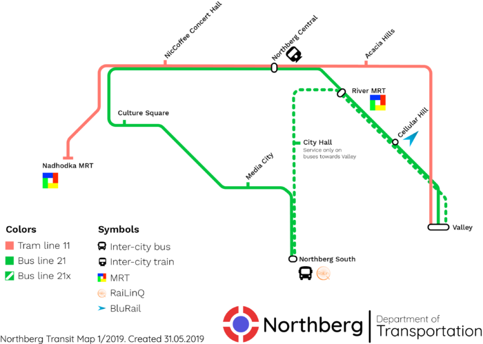 The current tram and bus routes in Northberg.